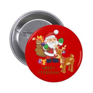 Santa & Reindeer 6 Cm Round Badge