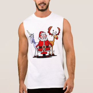 Santa, reindeer and a unicorn sleeveless shirt