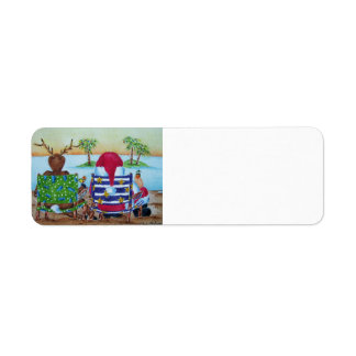 Santa & Reindeer Beach Label Return Address Label