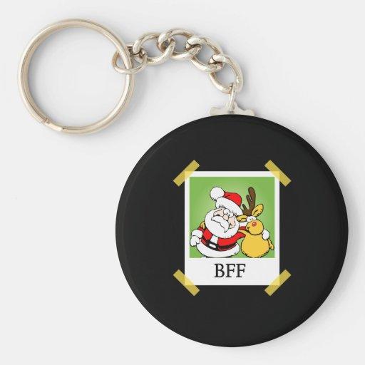 Santa & Reindeer  BFF's Basic Round Button Key Ring