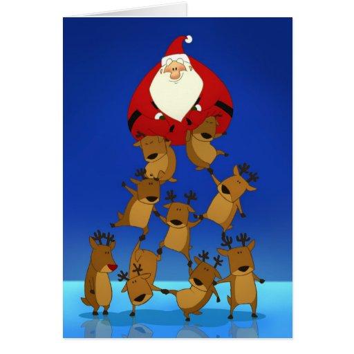 Santa & Reindeer (Blank Card)