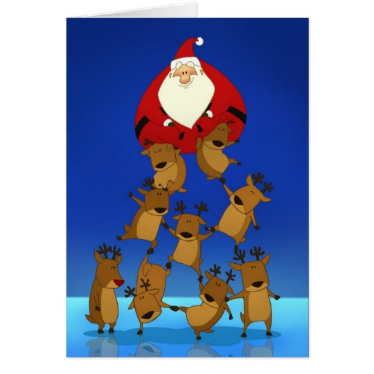 Santa & Reindeer (Blank Card) Greeting Card