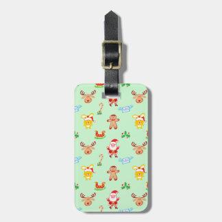 Santa, reindeer, bunny and cookie man Xmas pattern Luggage Tag