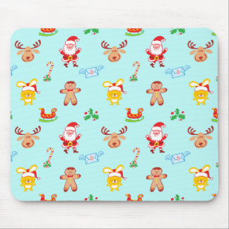 Santa, reindeer, bunny and cookie man Xmas pattern Mouse Pad