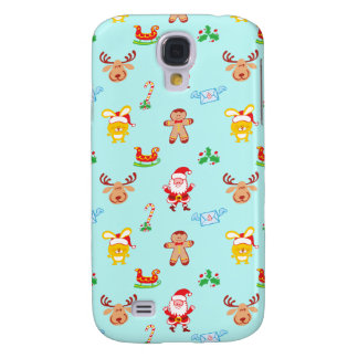 Santa, reindeer, bunny and cookie man Xmas pattern Samsung Galaxy S4 Covers