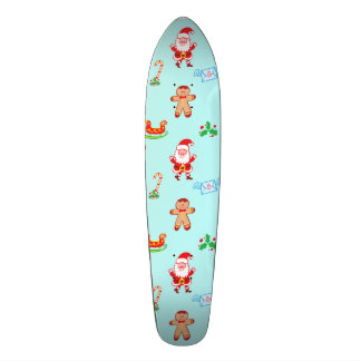 Santa, reindeer, bunny and cookie man Xmas pattern Skateboard Deck