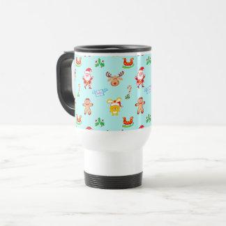 Santa, reindeer, bunny and cookie man Xmas pattern Travel Mug