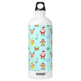 Santa, reindeer, bunny and cookie man Xmas pattern Water Bottle