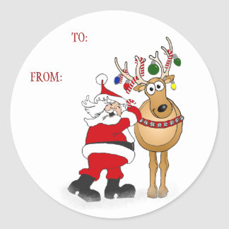 Santa reindeer Christmas Gift sticker: TO: FROM: Classic Round Sticker