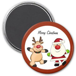 Santa & Reindeer Christmas Holiday 7.5 Cm Round Magnet