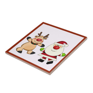 Santa & Reindeer Christmas Holiday Tile