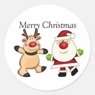 Santa & Reindeer Classic Round Sticker