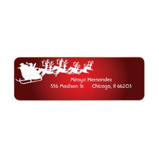 Santa & Reindeer in a Sleigh Address Labels