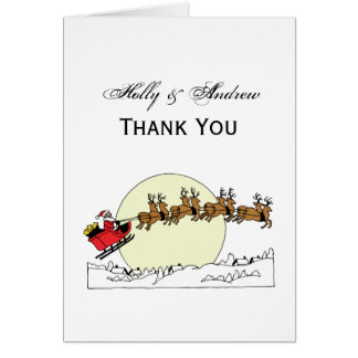 Santa Reindeer Over Snow Covered Town Lt Moon Card