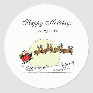 Santa Reindeer Over Snow Covered Town Lt Moon Classic Round Sticker