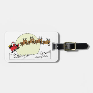 Santa Reindeer Over Snow Covered Town Lt Moon Luggage Tag