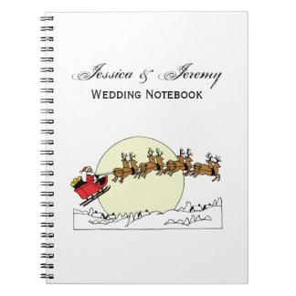 Santa Reindeer Over Snow Covered Town Lt Moon Notebooks
