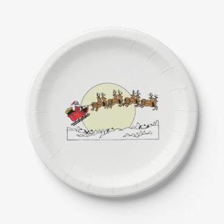 Santa Reindeer Over Snow Covered Town Lt Moon Paper Plate