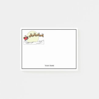 Santa Reindeer Over Snow Covered Town Lt Moon Post-it Notes