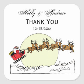 Santa Reindeer Over Snow Covered Town Lt Moon Square Sticker