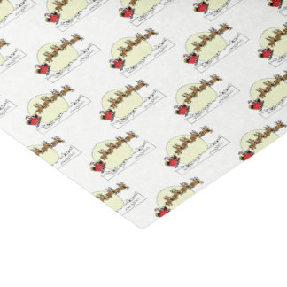 Santa Reindeer Over Snow Covered Town Lt Moon Tissue Paper