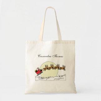 Santa Reindeer Over Snow Covered Town Lt Moon Tote Bag