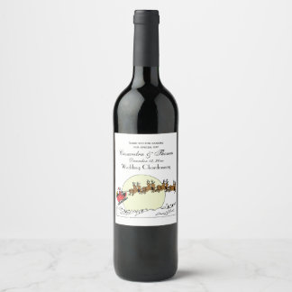 Santa Reindeer Over Snow Covered Town Lt Moon Wine Label