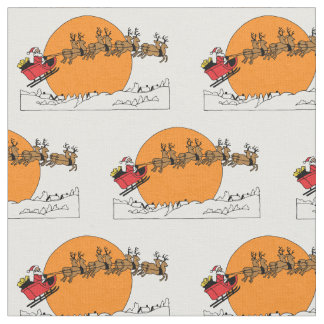 Santa Reindeer Over Snow Covered Town Moon Fabric