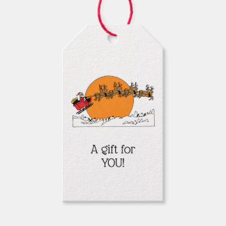 Santa Reindeer Over Snow Covered Town Moon Gift Tags