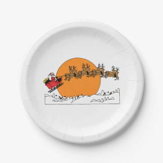 Santa Reindeer Over Snow Covered Town Moon Paper Plate