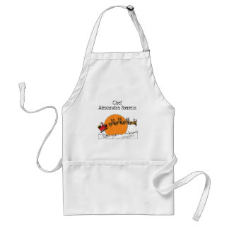 Santa Reindeer Over Snow Covered Town Moon Standard Apron