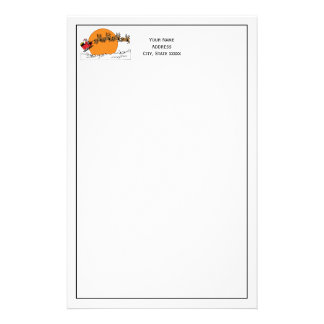 Santa Reindeer Over Snow Covered Town Moon Stationery