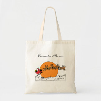 Santa Reindeer Over Snow Covered Town Moon Tote Bag