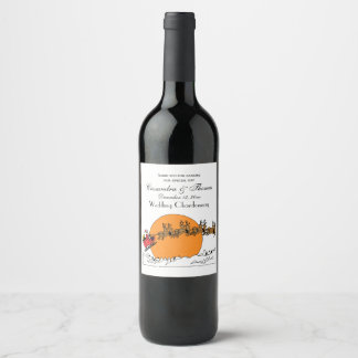 Santa Reindeer Over Snow Covered Town Moon Wine Label