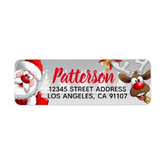Santa & Reindeer Return Address Labels