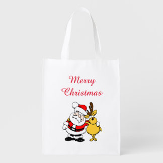Santa Reindeer Reusable Shopping Bag