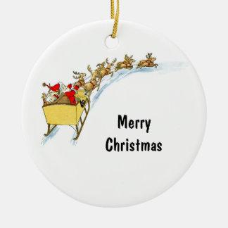 Santa & Reindeer Round Ceramic Decoration