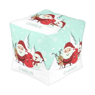 Santa, Reindeer & Snowman custom name poufs