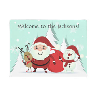 Santa, Reindeer & Snowman custom text door mat