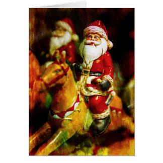 Santa Rides a Carousel Card