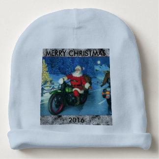 Santa riding a Harley beanie baby cap Baby Beanie