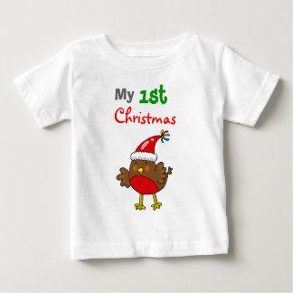 Santa robin, my 1st Christmas Baby T-Shirt