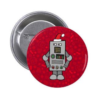 Santa Robot 6 Cm Round Badge