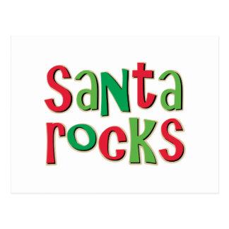 Santa Rocks Red and Green Christmas Postcard