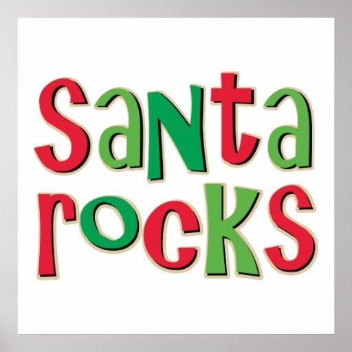 Santa Rocks Red and Green Christmas Print