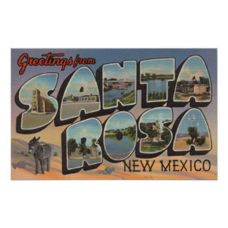 Santa Rosa, New Mexico - Large Letter Scenes Poster