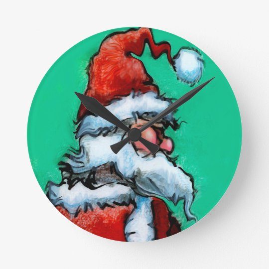 Santa Round Clock