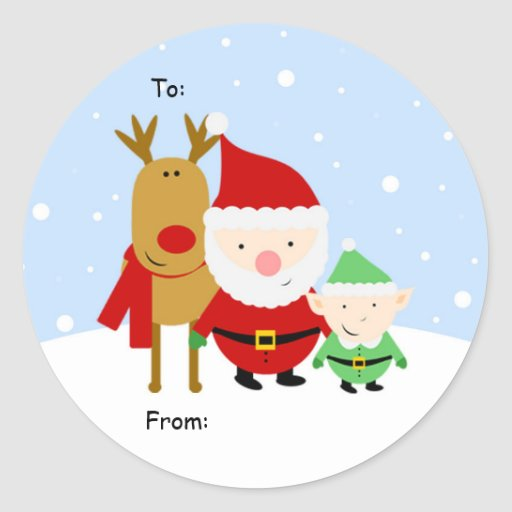 Santa, Rudolph and Elf Christmas Tag, To: From: Stickers