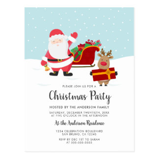 Santa, Rudolph & Sled Christmas Party Invitations