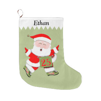 Santa Run Collectible Large Christmas Stocking